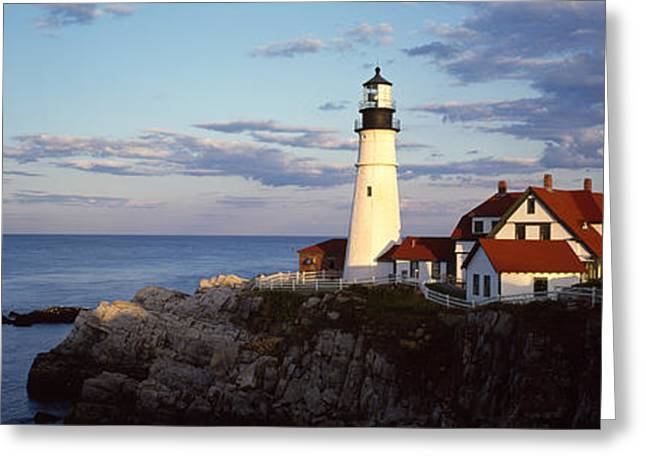 Portland Head Lighthouse Greeting Cards - Lighthouse On A Cliff, Portland Head Greeting Card by Panoramic Images