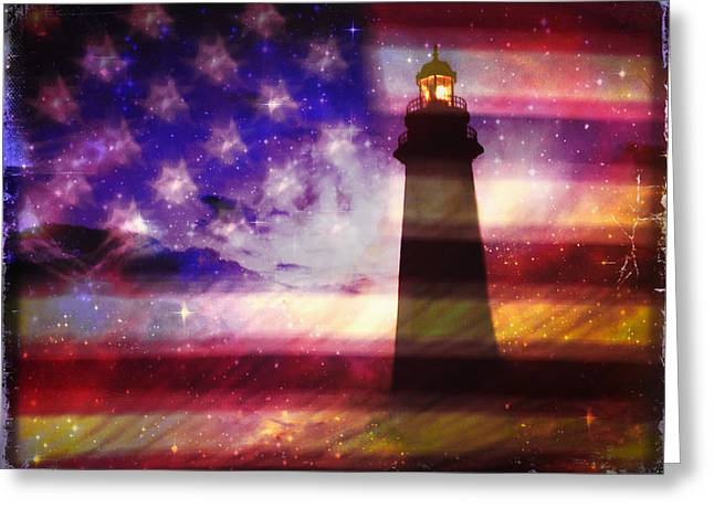 Lighthouse On American Flag Greeting Card by Skip Nall