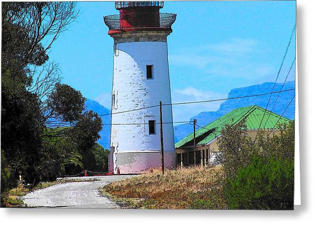 Cape Town Greeting Cards - Lighthouse on Robben Island Greeting Card by Vijay Sharon Govender