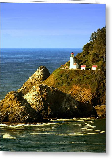 Lighthouse On The Oregon Coast Greeting Card by Marty Koch