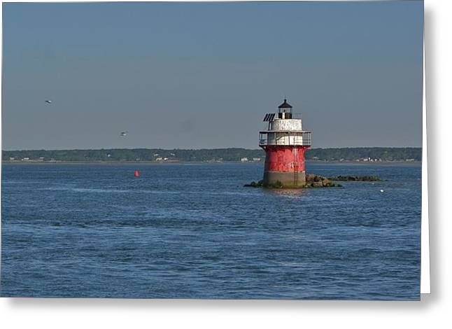 Ma Pyrography Greeting Cards - Lighthouse Plymouth Greeting Card by Calvin Nelson