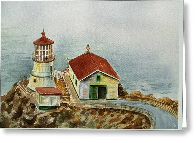 Lighthouse Point Reyes California Greeting Card by Irina Sztukowski