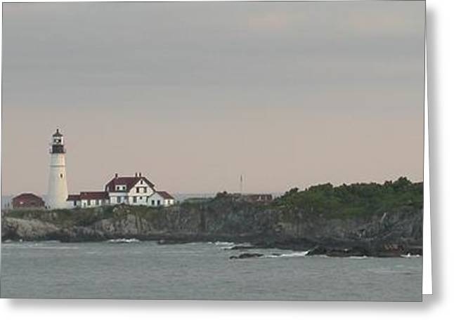 Maine Lighthouses Greeting Cards - Lighthouse Portland ME Greeting Card by Raju Alagawadi