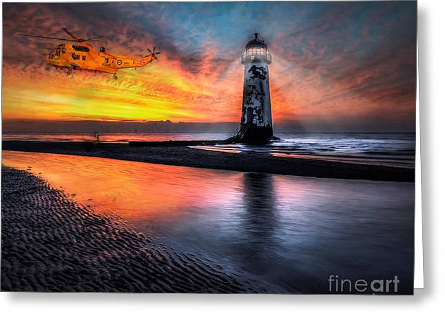Talacre. Landmark Greeting Cards - Lighthouse Rescue Greeting Card by Adrian Evans