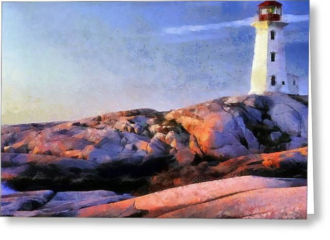 Pacific Pastels Greeting Cards - Lighthouse Greeting Card by Russ Harris