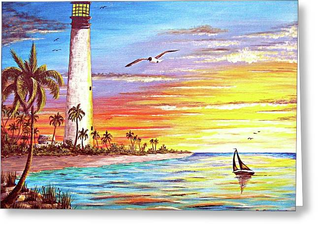 Blue Sailboats Greeting Cards - Lighthouse Sunrise Greeting Card by Riley Geddings