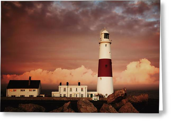 Stormy Weather Greeting Cards - Lighthouse Sunset Greeting Card by Anthony Poynton