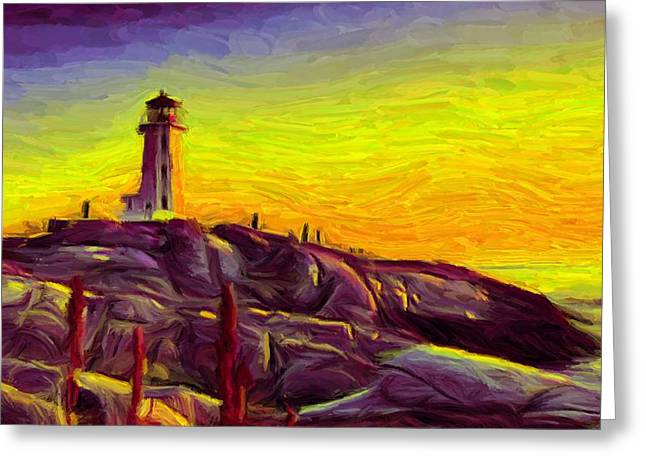 Landscape Posters Greeting Cards - Lighthouse Sunset Greeting Card by Caito Junqueira