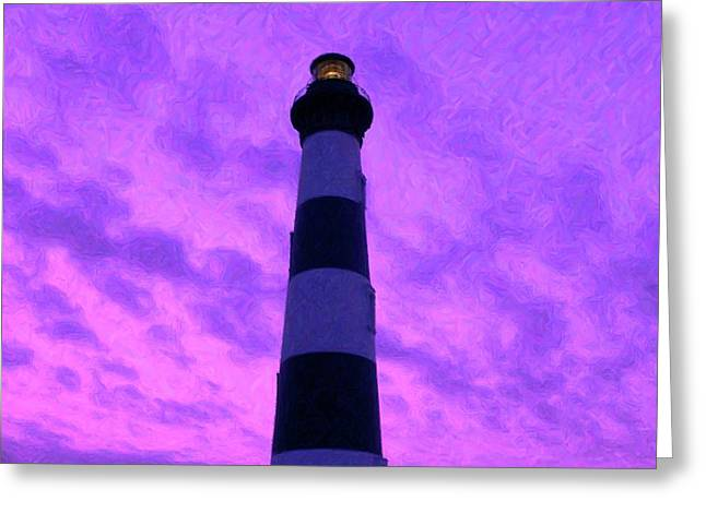 N.c. Greeting Cards - Lighthouse Sunset - Digital Art Greeting Card by Al Powell Photography USA