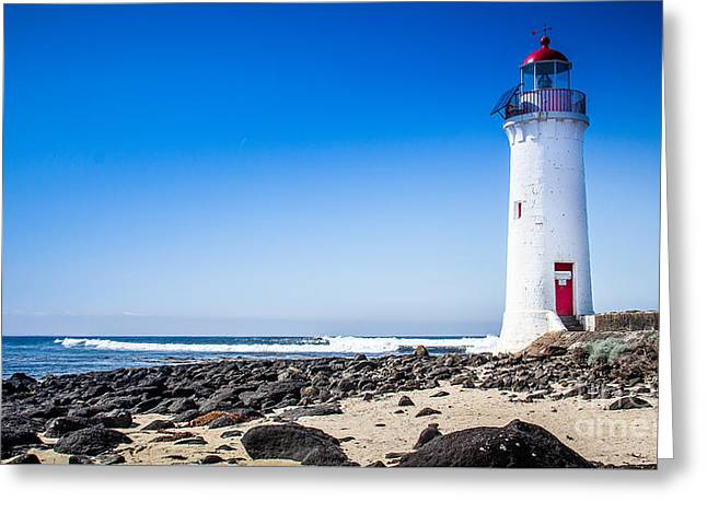 Lighthouse Surf Greeting Card by Perry Webster