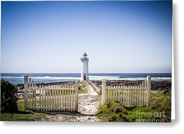 Lighthouse Walk Greeting Card by Perry Webster