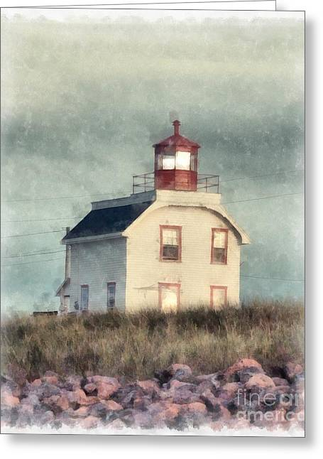Lighthouse Watercolor Prince Edward Island Greeting Card by Edward Fielding