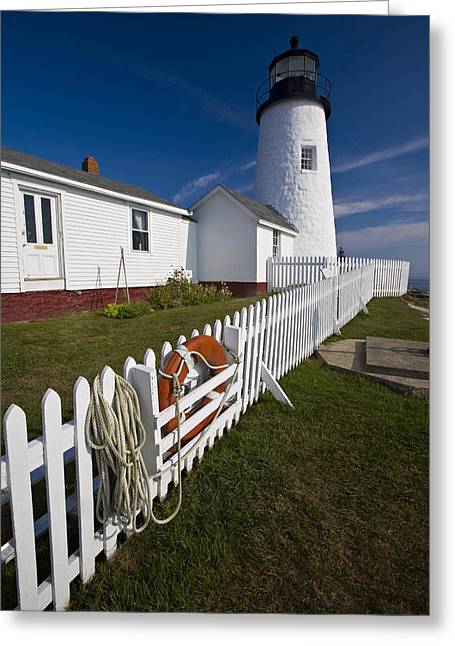 Keepers House Greeting Cards - Lighthouse with Garden Pemaquid Point Maine Greeting Card by George Oze