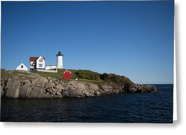 Sheds Greeting Cards - Lighthouse With Red Shed Greeting Card by Mark Beecher