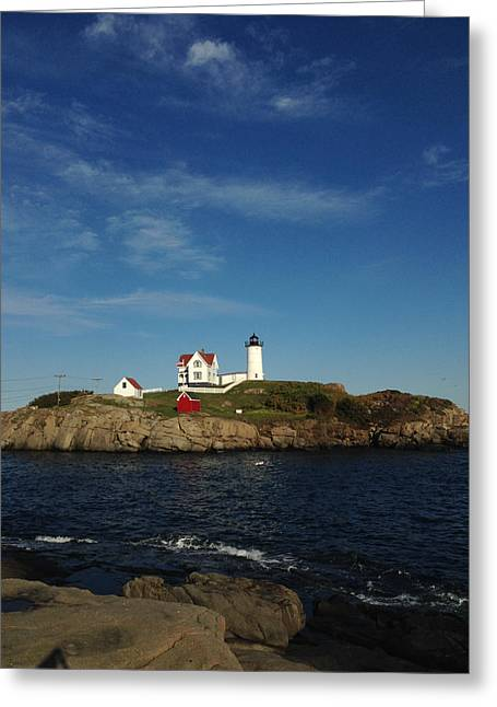 Sheds Greeting Cards - Lighthouse With Red Shed On The Hill Greeting Card by Mark Beecher