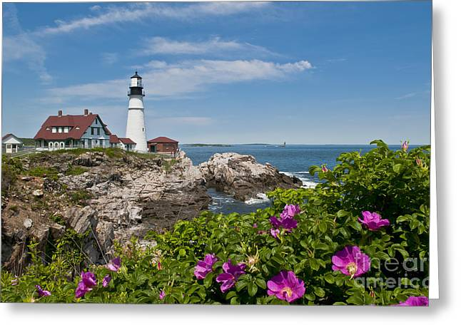 Lighthouse With Rocks On Shore Greeting Card by Bill Bachmann and Photo Researchers