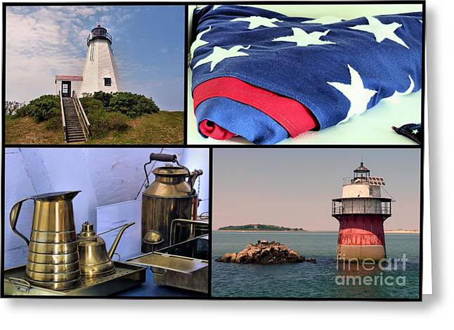 Gurnet Light Greeting Cards - Lighthouses of Plymouth MA Greeting Card by Janice Drew