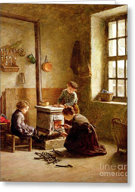 Lighting Greeting Cards - Lighting the Stove Greeting Card by Pierre Edouard Frere