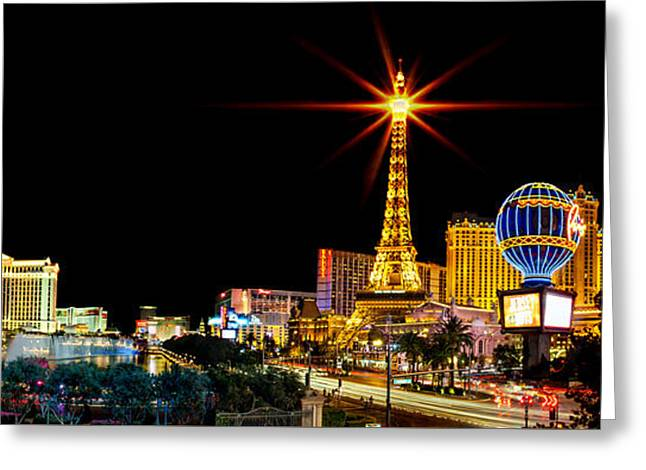 Exposure Greeting Cards - Lighting Up Vegas Greeting Card by Az Jackson
