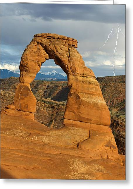 Cliche Greeting Cards - Lightning at Delicate Arch Vertical Greeting Card by Aaron Spong