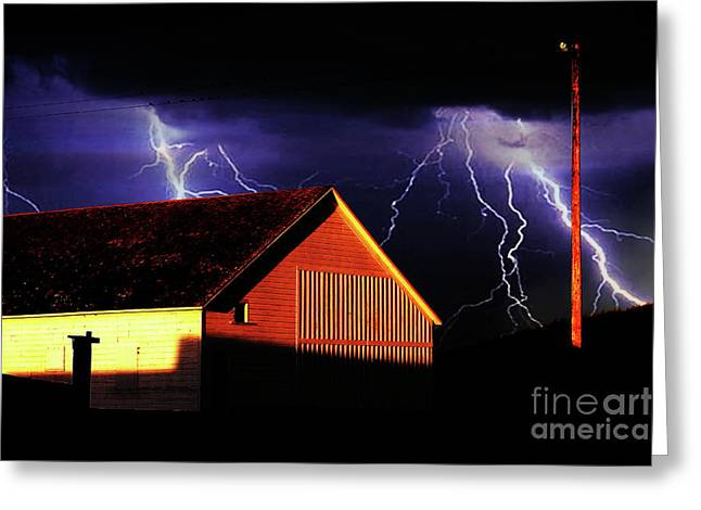 Photography Lightning Digital Art Greeting Cards - Lightning At The Old Ranch . 40D4577 Greeting Card by Wingsdomain Art and Photography