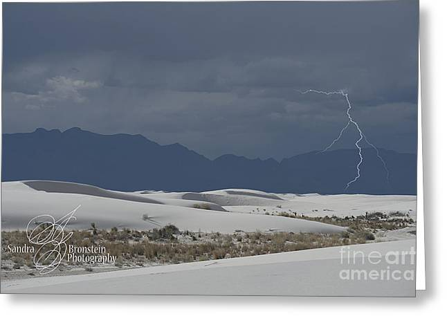 Lightning Strike Greeting Cards - Lightning at White Sands National Monument Greeting Card by Sandra Bronstein