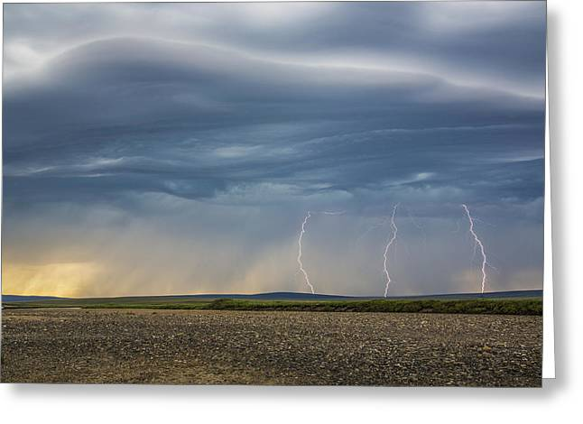 Turbulent Skies Greeting Cards - Lightning Bolts Descend From Dark Greeting Card by David Shaw