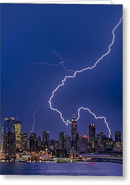 New York City Greeting Cards - Lightning Bolts Over New York City Greeting Card by Susan Candelario