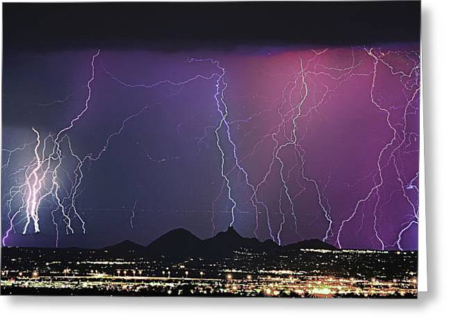 Thunderstorm Greeting Cards - Lightning City Greeting Card by James BO  Insogna