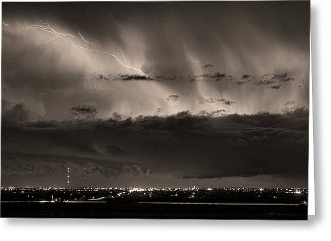 The Lightning Man Greeting Cards - Lightning Cloud Burst Boulder County Colorado IM39 Sepia Greeting Card by James BO  Insogna