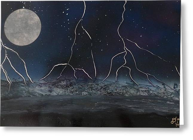 Images Lightning Paintings Greeting Cards - Lightning From beyond Greeting Card by Dallas Holloman
