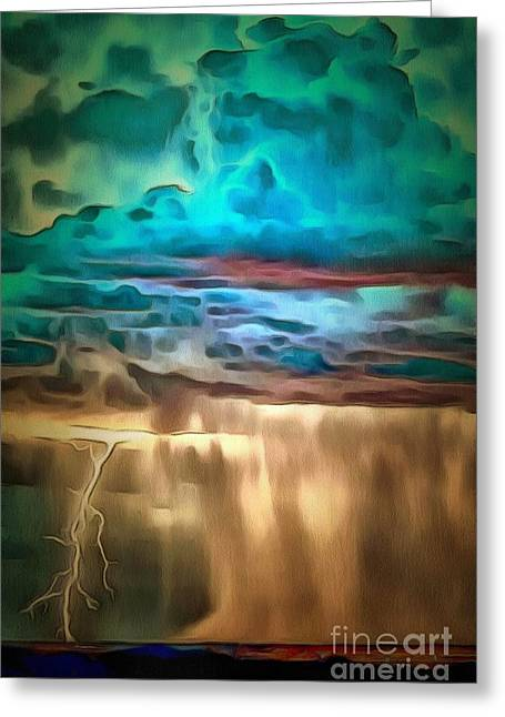 Throw Down Greeting Cards - Lightning In A Down Pour In Ambiance Greeting Card by Catherine Lott