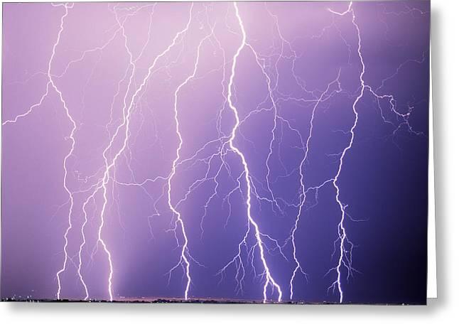 Lightning Greeting Card by Leland D Howard