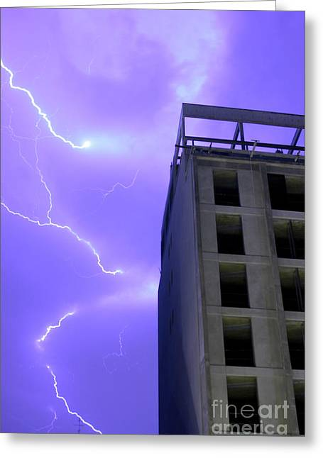 Cloud To Cloud Greeting Cards - Lightning on Rivadavia 2 Greeting Card by Balanced Art