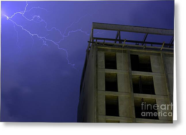 Cloud To Cloud Greeting Cards - Lightning on Rivadavia 3 Greeting Card by Balanced Art