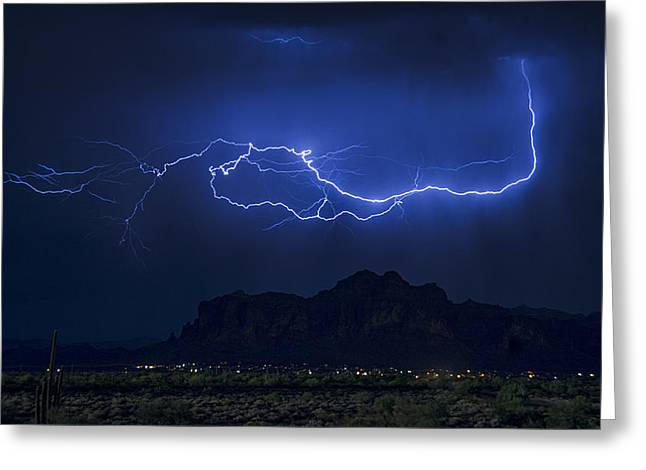 The Superstitions Greeting Cards - Lightning on the Superstitions  Greeting Card by Saija  Lehtonen