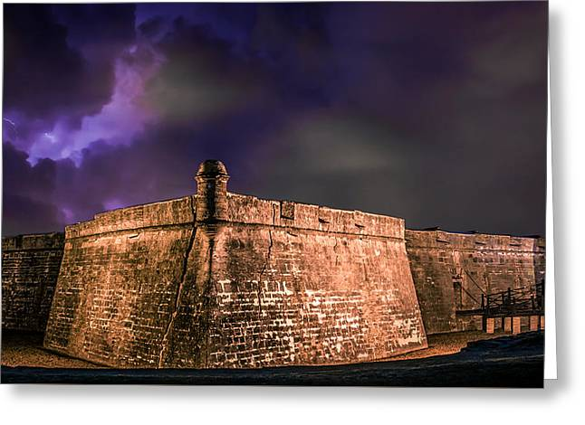 Usa Digital Greeting Cards - Lightning Over Castillo de San Marcos National Monument Greeting Card by Rob Sellers