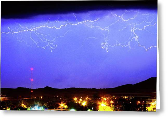 Lightning Strike Greeting Cards - Lightning Over Loveland Colorado Foothills Panorama Greeting Card by James BO  Insogna