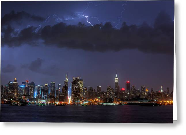 Lightning Over New York City I Greeting Card by Clarence Holmes