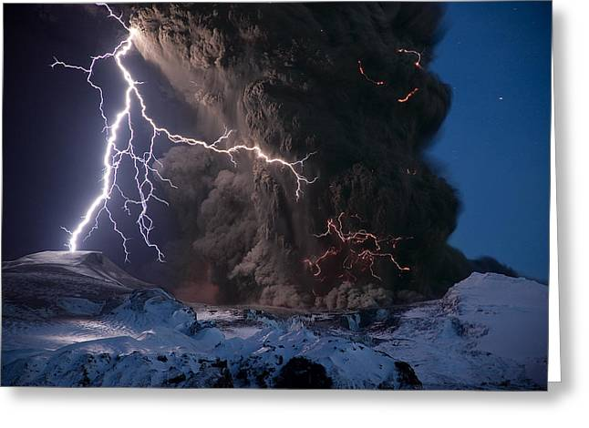 Eruption Greeting Cards - Lightning Pierces The Erupting Greeting Card by Sigurdur H. Stefnisson