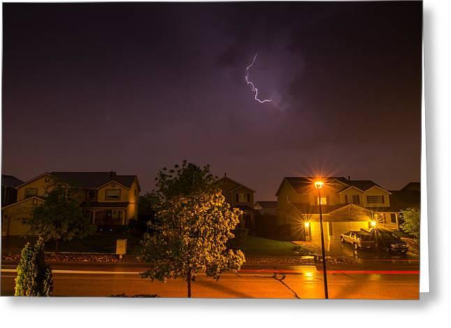 Night Lamp Greeting Cards - Lightning Greeting Card by Richard Bittles