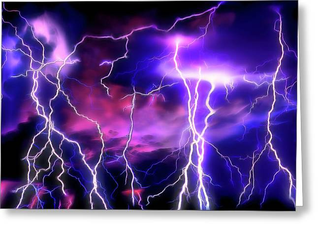 Lightning Storm 1 Greeting Card by Steve Ohlsen