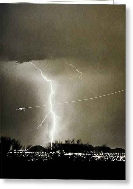 Photography Lightning Greeting Cards - Lightning Storm City Lights Jet Airplane Fine Art Photography Greeting Card by James BO  Insogna