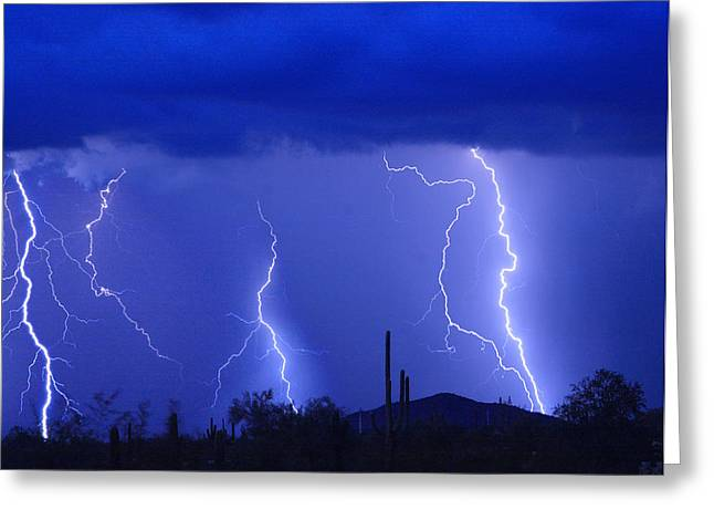 Lightning Storm in the Desert Fine Art Photography Print Greeting Card by James BO  Insogna