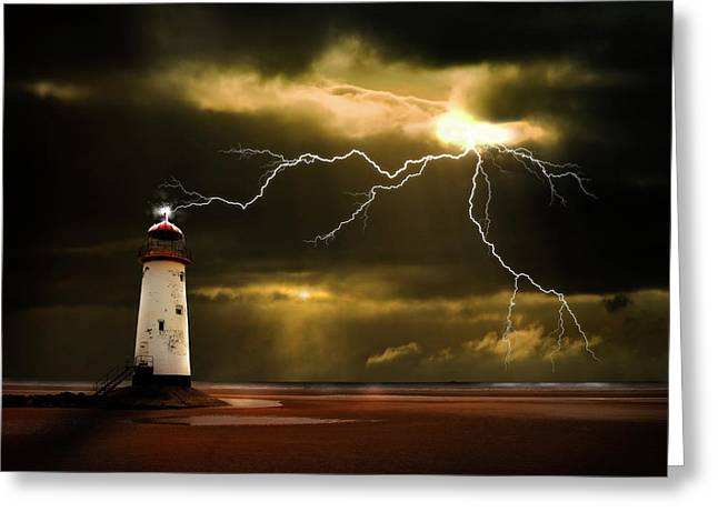 Lighthouse Greeting Cards - Lightning Storm Greeting Card by Meirion Matthias