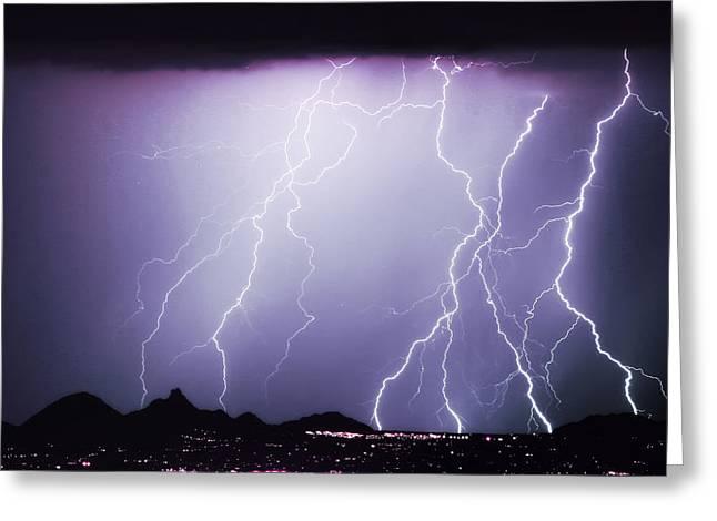 Scottsdale Lightning Photographs Greeting Cards - Lightning Storm North Scottsdale AZ 85255 Greeting Card by James BO  Insogna