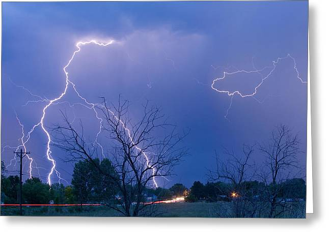 Lightning Storm On 17th Street Fine Art Print Greeting Card by James BO  Insogna
