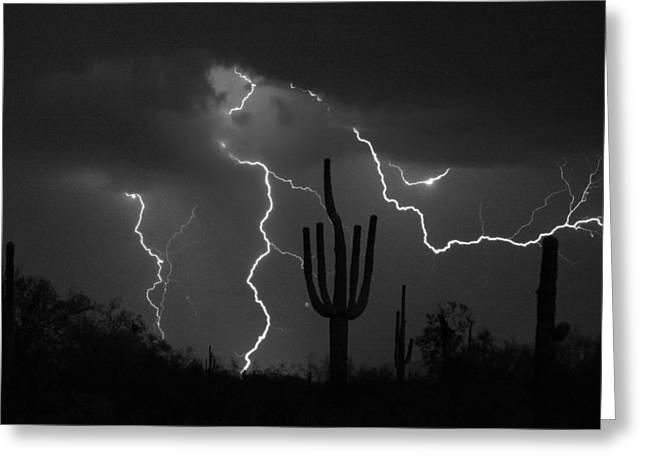 Arizona Lightning Greeting Cards - Lightning Storm Saguaro Fine Art BW Photography Greeting Card by James BO  Insogna