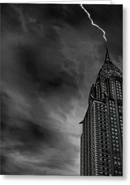Lightning Strike Greeting Card by Martin Newman