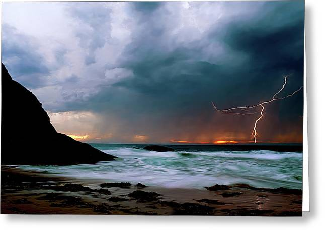 Lightning Bolts Greeting Cards - Lightning strike off Dana Point California Greeting Card by Cliff Wassmann